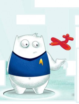 "Example of an Avatar You Can Create: Yeti Wearing Star Trek Unifom. By hitting the ""R"" key on the keyboard, I can make my avatar create an animal balloon while waiting in line to play the Santa Claw."