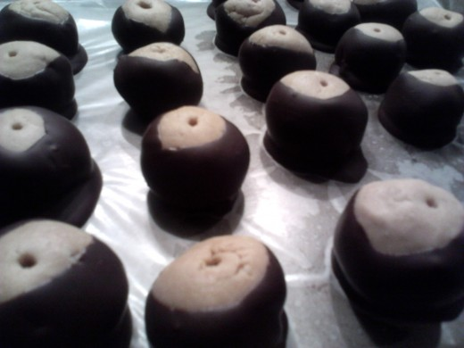 Yummy chocolate and peanut butter Buckeyes!