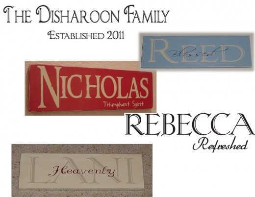 Here are some ways to personalize names with meanings and dates.  Both are words that can be apply to walls or signs.