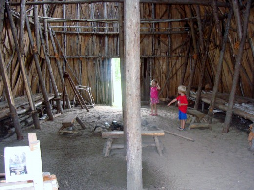 Exploring the longhouse.