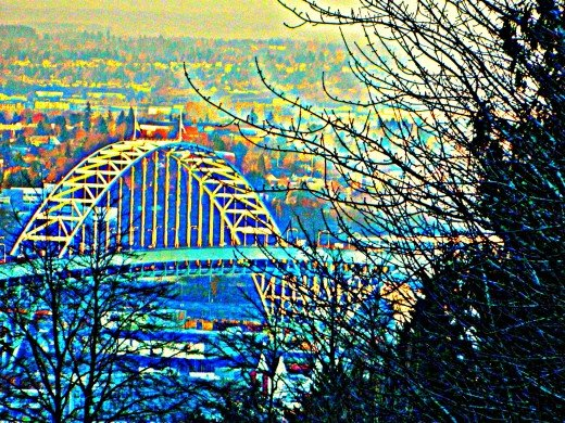 Freemont Bridge as a photo painting, Portland, Oregon