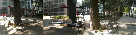 Street Art Exhibit H: Bicycling Bench. Visit Mexico and Interact with its Urban Art.