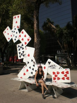 Street Art Exhibit A: Playing Cards Bench. Visit Mexico and Interact with its Urban Art.