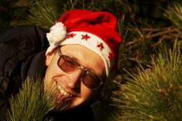 Man Wearing Santa Hat