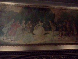Close up of painting on the ceiling of the Cort Theatre