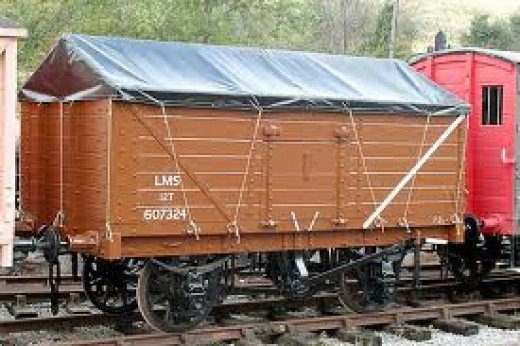 LMS Mineral (salt) wagon with removable canopy. The GWR, LMS and Southern had vehicles similar to this for salt traffic