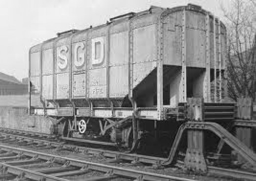 the earlier BR type also found in private ownership. Scottish Distillers Group grain hopper at Cameron depot  Before these grain hoppers were built of wood with steel hopper chutes. Windows were let into the ends to check loading.