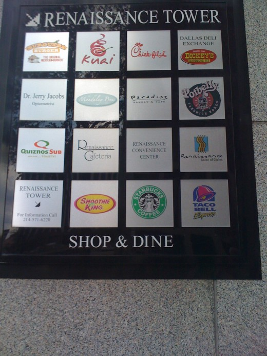 The sign in front of the food court.