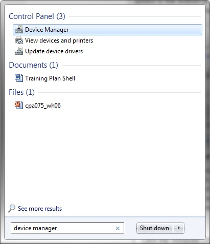 Access the Device Manager by searching for it using the Search field in the Start menu.