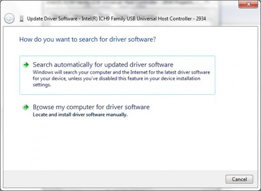 Let Windows 7 search for new drivers on the Internet or tell it to install them from a specific location on your computer.