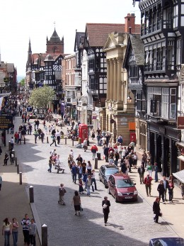 Looking down onto the streets of Chester