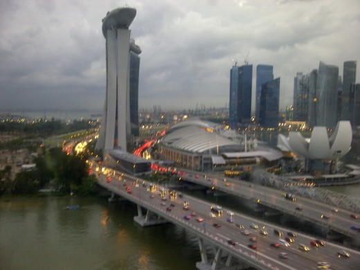 Marina Bay Sands at dusk captured from Singapore Flyer.