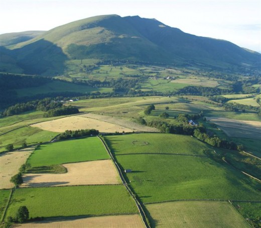 Amazing aerial view of Castlerigg-in the middle of the photo is the stone circle