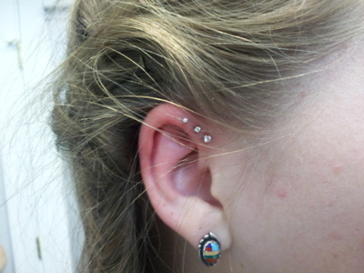 A Triple Forward Helix Piercing