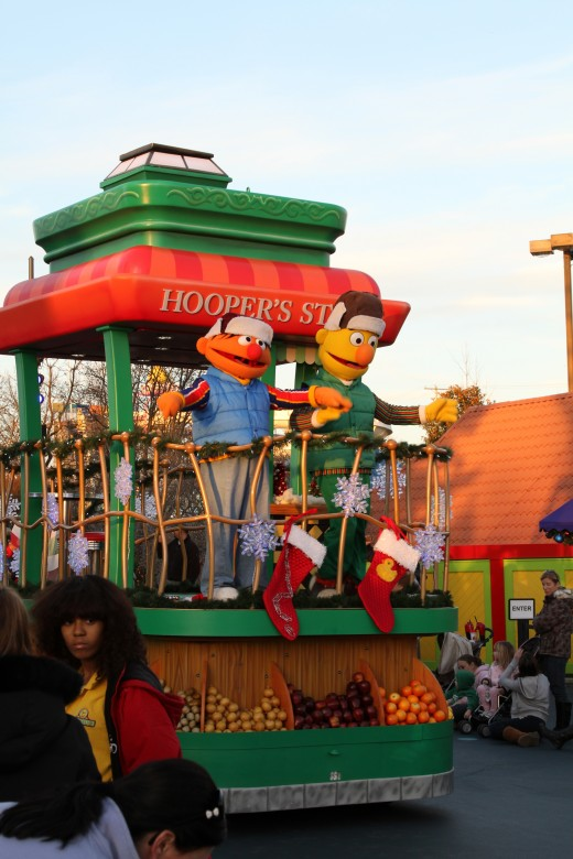 Bert and Ernie's holiday float in the Sesame Street parade