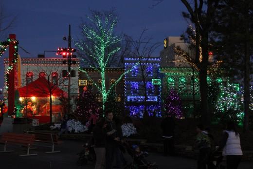 Night view of Sesame Street neighborhood