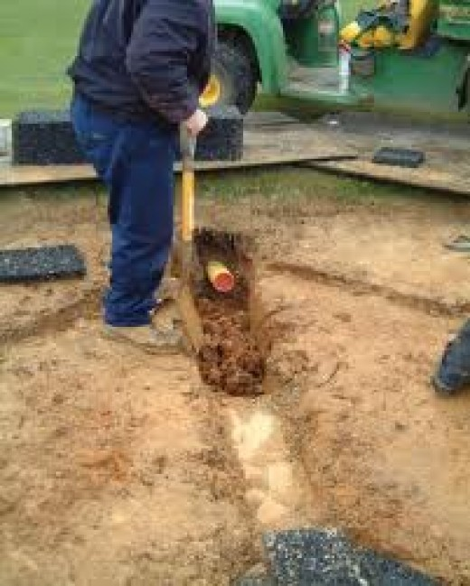 laying herringbone garden drainage in heavy clay soils