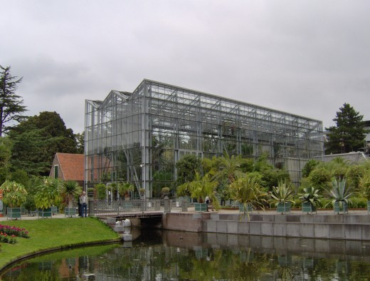 The Wintertuin (winter garden), the entrance building of the Hortus botanicus in Leiden, The Netherlands