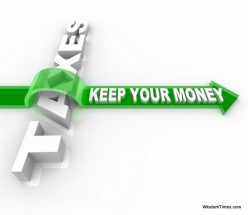 money saving tip - plan your taxes - keep your money green sign with arrow