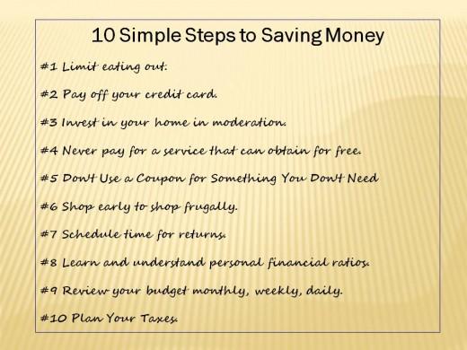 10 simple steps to saving money