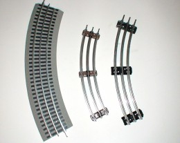 From left to right: Lionel Fastrack, O27 gauge track, and O-Gauge track for Lionel trains.