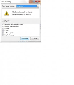The Clear Recent History dialog box in Mozilla Firefox.