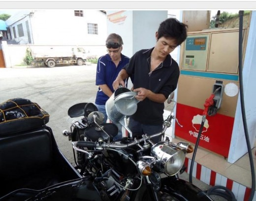 And sometimes they use a watering can to fill up the motorcycle!