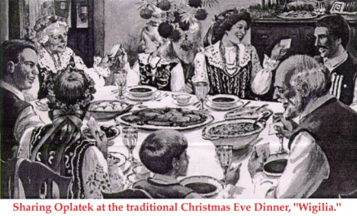 """Wigilia pronounced (vee-GEEL-yah) is the traditional Polish Christmas Eve. In the picture a family breaks blessed Communion-like wafers –- oplatki (oh-PWAHT-kee) sharing them with loved ones and friends saying, """"Merry Christmas."""""""