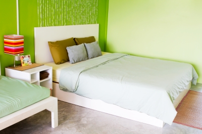 Brightly colored bedroom
