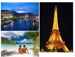 Top Left: Venice at night.  Bottom Left: White sand beaches. Right: Eiffel Tower at night.