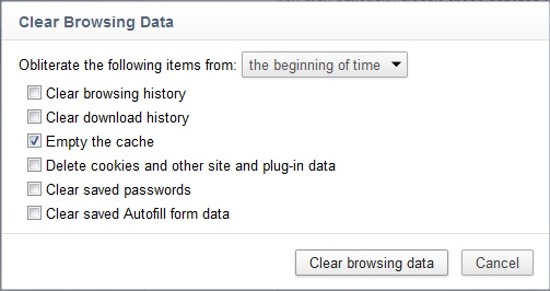 The Clear Browsing Data dialog box in Google Chrome.