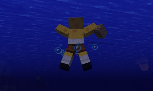 Swimming with the Minecraft Smart Moving Mod.