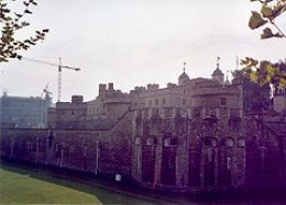 Modern photograph of the forbidding walls of the Tower of London