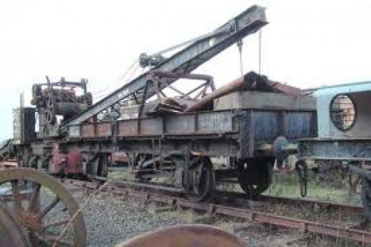 A former LNER plate wagon being used as a crane runner