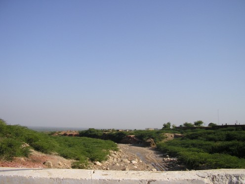 A view of the surrounding countryside seen from outside the mine.