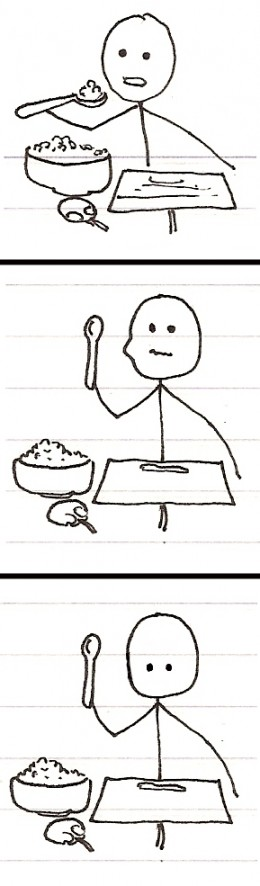 stick figure eating cereal at computer