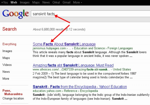 One of my HubPages on the top position in Google search result for the key word 'Sanskrit Facts'