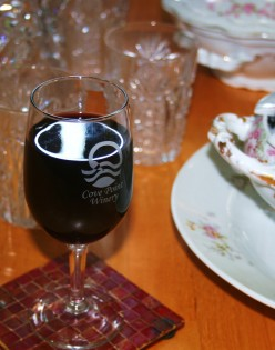 A souvenir from Patuxent Wine Trail 2010 Valentine's Day Tour: a Cove Point Winery glass free with tasting.