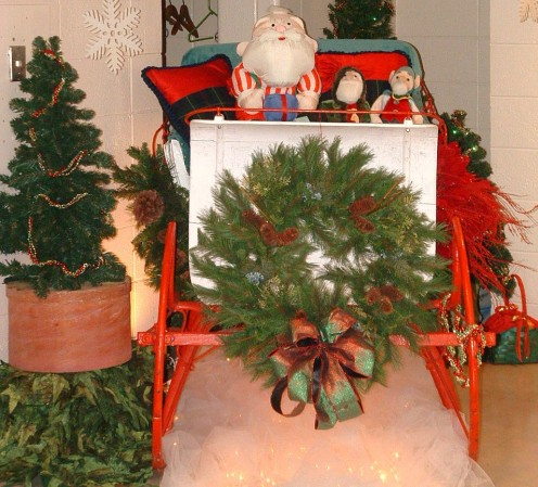 Santa's sleigh exhibit at the Rehoboth Beach Convention Center Delaware Hospice Festival of Trees.