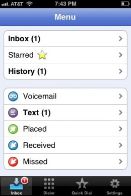 The Google Voice home screen.