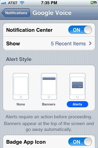 Modify the settings for Google Voice in your iPhone's Notifications screen to specify how it needs to be displayed.