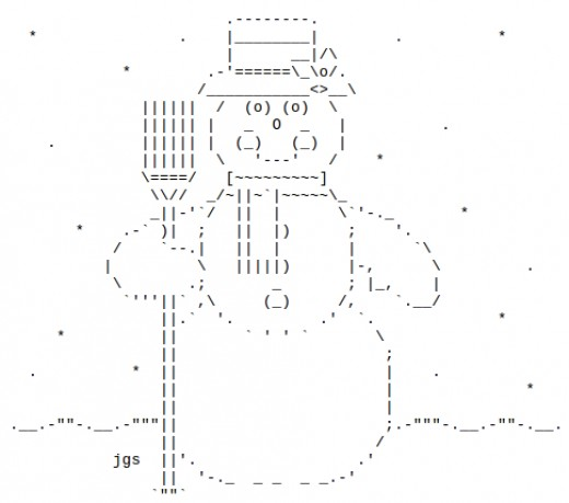 One Line Ascii Art Snow : Snowmen and snow people in ascii text art