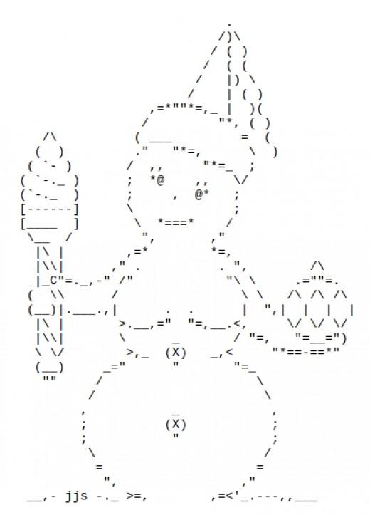 One Line Ascii Art Snow : Snowmen and snow people in ascii text art holidappy
