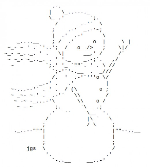 Snowmen and snow people in ascii text art holidappy for Ascii decoration