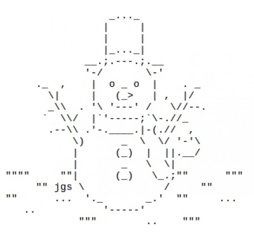 One Line Ascii Art Snow : Snowmen and snow people in ascii text art holidappy