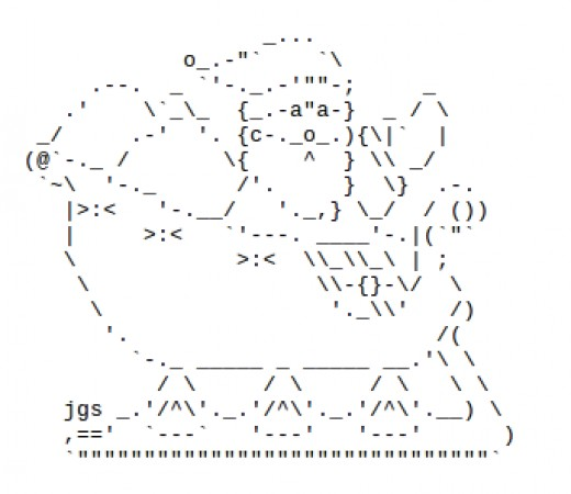Santa and sleigh for christmas in ascii text art hubpages for Ascii decoration