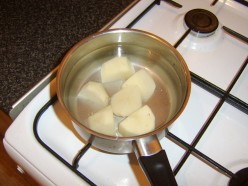 Potatoes are boiled in large chunks
