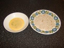 Beaten egg and breadcrumbs for schnitzel
