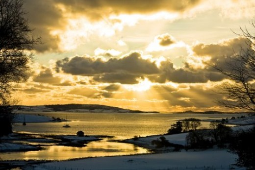 The view of Strangford Lough from the back of our house, Christmas 2010