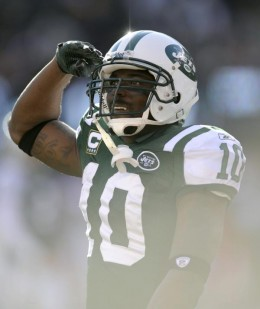 New York Jets' Santonio Holmes reacts after scoring a TD during the 2nd quarter the football game against the KC Chiefs Sunday 12/11/11, in  N.J. (AP Photo/Bill Kostroun)